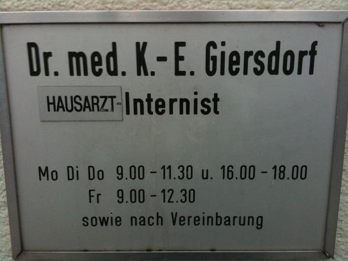 Dr. med. Giersdorf, Internist in der Weddinger Müllerstraße