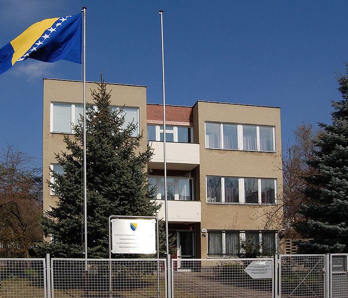 Das Botschaftsgebäude der Botschaft von Bosnien und Herzegowina in Berlin-Prenzlauer Berg