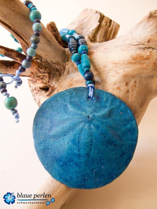 Surfschmuck-Halskette-Sanddollar-blue
