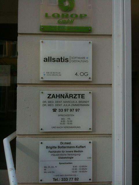 Firmenschild allsatis GmbH